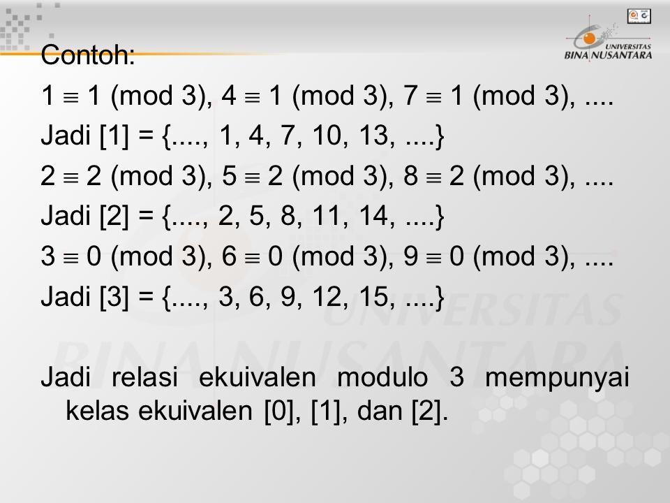 Contoh: 1  1 (mod 3), 4  1 (mod 3), 7  1 (mod 3), .... Jadi [1] = {...., 1, 4, 7, 10, 13, ....}